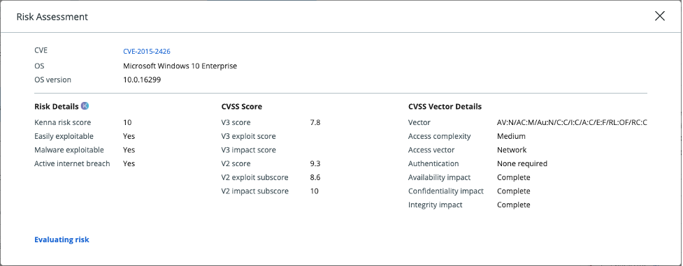 View of the Kenna risk score and related information found within the VMware Carbon Black Cloud console.
